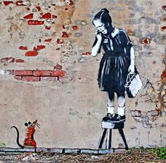 5. Banksy's art work includes many symbols such as rats,little women,children,police,and smiley faces.