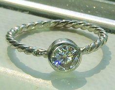 La Mela Erna Bezet Moissanite Twist Ring in Sterling Silver, $210