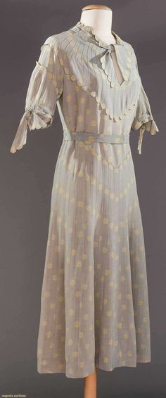 YING-YANG PRINTED DAY DRESS, 1930s Baby blue silk faille w/ ivory ying-yang print, bodice & skirt pin-tucked, tie-sashes to neckline & sleeves