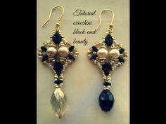 Tutorial orecchini black and beauty Book Jewelry, Seed Bead Jewelry, Seed Bead Earrings, Diy Earrings, Jewelry Making, Beaded Earrings Patterns, Beaded Jewelry Designs, Diy Jewelry Inspiration, Earring Tutorial