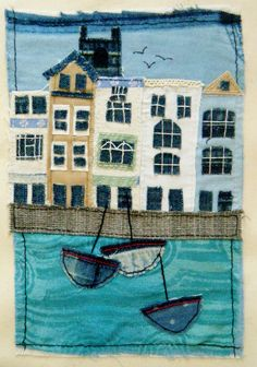 Dartmouth harbour hand stitched upcycled textile art quilt by BluePebbleStudio on Etsy