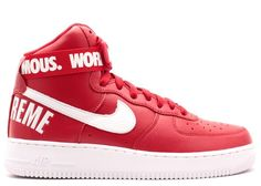 online store fda29 dedc2 New Inexpensive Nike Air Force 1 High Red Sells SP Online Supreme Sneakers  with Low Prices