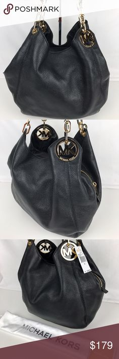"""Michael Kors Fulton Large Shoulder Tote in Black Condition: New, with Tag and Dust Bag.   One of the most popular bags I sell! Featuring a pebbled leather exterior, center zip divider at top, dual partial chain link shoulder straps and a hanging logo charm. One zip pocket, three open pockets, one phone pocket and key fob at interior 13 1/2"""" W x 11"""" H x 4"""" D. Style 30H3SFTE3L. Our bag # RB337.  Thank you for your interest!   PLEASE - NO TRADES / NO LOW BALL OFFERS / NO OFFERS IN COMMENTS…"""