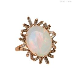 Solid 18 K Rose Gold 1 Real Baguette Diamond Ring Opal Gemstone Jewelry CY Real Gold Jewelry, Gemstone Jewelry, Fine Jewelry, Jewellery, Opal Edelstein, Baguette Diamond Rings, Pomellato, Initial Pendant, Opal Gemstone