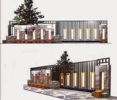 Desain Rumah: Desain dan Bentuk Pagar Minimalis Compound Wall, Modern Contemporary, Fence, Gate, Exterior, Outdoor Decor, Room, Furniture, Home Decor