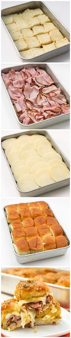 Sassy Tailgate Sandwiches--I would add Dijon mustard, but such a good idea for a finger food to feed a lot of people! **UPDATE: Place top bun on bottom and build upside-down. After arrival at your final destination, flip onto a baking sheet or decorative platter.