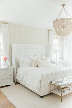 The Dreamiest White Bedroom You Will Ever Meet - http://www.stylemepretty.com/living/2016/07/28/the-dreamiest-white-bedroom-you-will-ever-meet/
