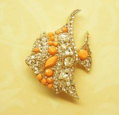 Fish Brooch Vintage Pin Rhinestones Cabachons Gold Metal ANIMAL CHARITY DONATION