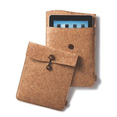 Travel with your iPad or your favorite tablet protected in this luxurious, handcrafted sustainable travel case. The soft cork fabric is lined with an unbleached cotton, accented with coconut shell but