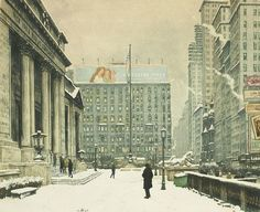 New York Public Library, 1920s, etching and aquatint on paper by Tavik Frantesik Simon, Czechoslovakian, 1877-1942. Simon was an artist specializing in paintings, etchings and woodcuts and was a founding member of the Hollar Association of Czech Graphic Artists. He was influenced by the French Impressionists.