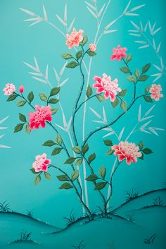 Painting A Chinoiserie Nursery - The Entire Process — Diane Hill Design Painted Branches, Chinese Wallpaper, Wall Murals, Wall Art, Chinoiserie Wallpaper, Hand Painted Walls, Floral Wall, Colorful Flowers, Bunt