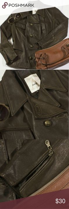 Leather Moto Jacket - Quality! Real leather moto jacket.  Distressed, espresso colored leather.  Zipper pockets and cuff details.   Beautiful brass tone buttons.  Small blemish on sleeve.  Amazing quality leather. Jackets & Coats