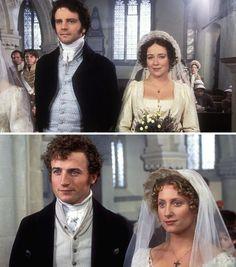 Pride and Prejudice (1995) Starring: Rupert Cansittart as Mr. Hurst, Anthony Calf as Col. Fitzwilliam, Colin Firth as Mr. Darcy, Jennifer Ehle as Elizabeth Bennet, Lynn Faleigh as Mrs. Phillips, Crispin Bonham-Carter as Mr. Bingley and Susannah Harker as Jane Bennet.