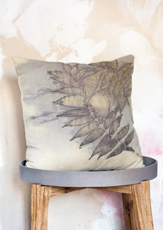 "Throw Pillow Cover 20""x 20"" Handmade Wool Silk blend / Eco printed Cushion Cover /Decorative Pillow Cases/ Natural Fabric/ Rustic Home"