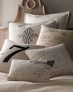 "INSPIRATION :: French Laundry Home Pillows @ NeimanMarcus.com :: I want a couple of those ""French Words"" pillows on the bottom right..but alas, they are so expensive! So, what do we do? Make our own! 