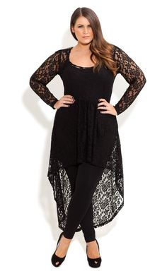 Plus Size Black Lace Armour Tunic - City Chic - City Chic
