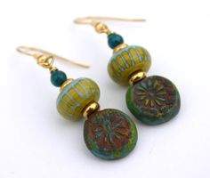 Green and Blue Earrings Lampwork and Polymer by InspiredTheory, $23.00