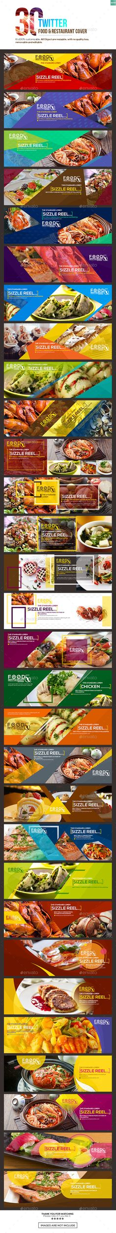 30 Twitter Food & Restaurant Cover  — PSD Template #insta #social media banner • Download ➝ https://graphicriver.net/item/30-twitter-food-restaurant-cover/18487722?ref=pxcr