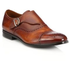 Bally Lanor Perforated Monk-Strap Dress Shoes : Bally Shoes ($575) ❤ liked on Polyvore featuring men's fashion, men's shoes, men's dress shoes, apparel & accessories, brown, mens dress loafers shoes, mens brown dress shoes, mens brown leather dress shoes, mens monk strap shoes and mens leather shoes