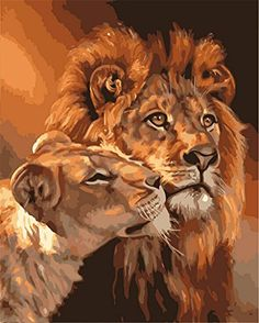 KISSMYTWINS Painting By Numbers Digital Oil Painting DIY Oil Kits Lion Frameless Canvas Home Wall Decor 40x50cm ** To view further for this item, visit the image link. (Note:Amazon affiliate link) #PartyGadgetsDIY