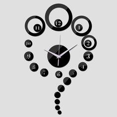 2015 venda direta de moda de luxo moderno relógio de quartzo sala parede de acrílico espelho de cristal 3d relógios frete grátis alishoppbrasil