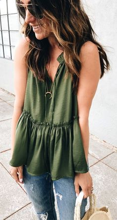 #summer #outfits Green Top + Ripped Jeans