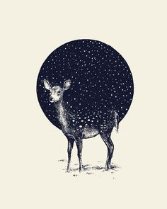 Snow Flake / Daniel Teixeira - doe - baby deer - circle - pattern - navy - vanilla - off white - standing - stand - illustration - draw - paint - illustrate - create - inspiration - feet - hooves - ears - bambi - spots - white - negative space Art And Illustration, Creative Illustration, Inspiration Art, Art Inspo, Art Design, Design Poster, Design Ideas, Picasso, Amazing Art