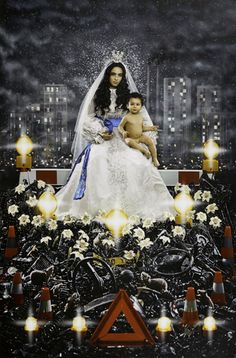 """Madonna & Child"" by Pierre et Gilles. Photographer: Pierre Commoy; Painter: Gilles Blanchard; Model: Hafsia Herzi."