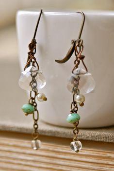 Gretchen.pearlrhinestonegreen beaded earrings. by tiedupmemories