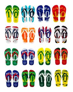 Flip it, flop it, flaunt it. World Cup flip flops. Soccer = the REAL Football.