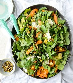 Grilled Apricot, Sweet Corn and Arugula Salad with Pistachios.