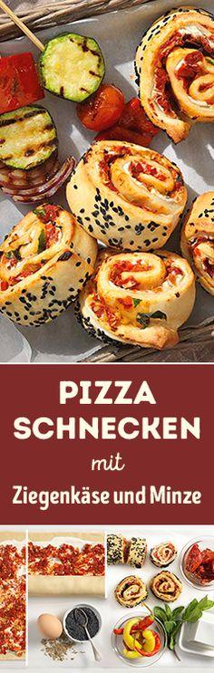 Eine sommerliche Beilage zum Grillen: Pizzaschnecken mit Ziegenkäse