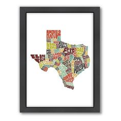 Americanflat Joe Brewton Texas Typography Framed Wall Art, Multicolor
