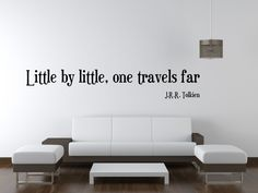 JRR Tolkien wall decal art vinyl lettering sticker Little by little one travels far FREE SHIPPING. $18.99, via Etsy.