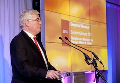 An Tanaiste, Eamon Gilmore addresses the attendees of the PR Awards for Excellence, 2013 at the Conrad Hotel, Dublin