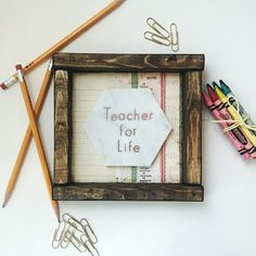 Wooden Shelf Sitter with 'TEACHER FOR LIFE' Copper Embossing on Marble. Free Shipping!