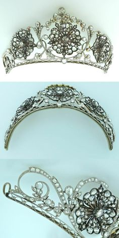 A silver on gold tiara set with  36 ct rose cut diamonds with a floral design theme. Edwardian