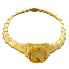 David Webb Citrine 18K Gold Necklace