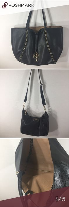 USED BCBG black reversible chain tote w/side bag💋 Gently used matching handbags with charm. The hobo bag has slight pen marks and small tote is in excellent condition. Perfect for shopping or beach time. Let me know if you want both or separate ❤ BCBG Bags Hobos