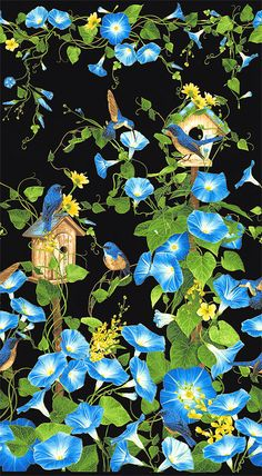 Morning Glory - Birdhouse Border in Blue - Quilt Fabrics from www.eQuilter.com