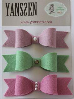 Wool felt bow hair clips