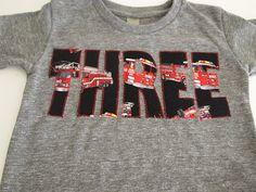 Firetruck Fire Truck  Shirt Birthday Tee Organic Blend Boys Birthday Shirt truck shirt firetruck party. $26.00, via Etsy.
