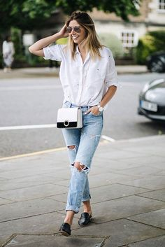 spring outfit, summer outfit, casual outfit, simple outfit, easy outfit, comfy outfit - white embroidered shirt, boyfriend jeans, black flat mules, aviator sunglasses, color-block shoulder bag