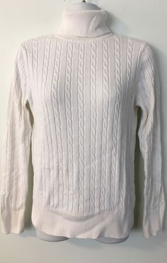 Sonoma Ivory Beige Marled Turtleneck Cable Knit Sweater size S ...