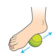 Foot massage using a tennis ball. Place the ball under the arch of one foot, then roll it slowly from heel to toe and back for 5 minutes; repeat on the other side. If you hit a tender spot, relax into it for about 5 seconds until you feel the tightness release. This simple move kicks kinks and cramps to the curb and readies your feet for their next lap around the track.