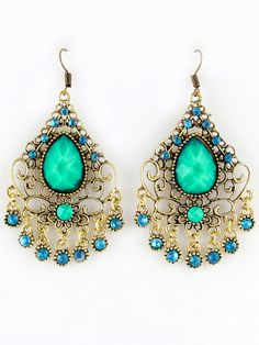 Green Gemstone Retro Gold Hollow Dangle Earrings via sheinside.com