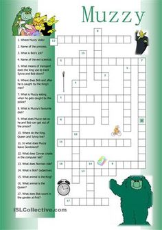 "Use this crossword as a revision job after watching and working with the movie ""Muzzy in Gondoland"". - ESL worksheets"