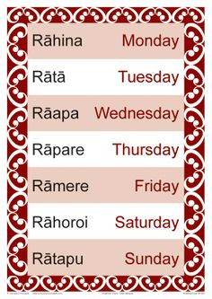 Days of the Week chart shown in Maori and English. Fantastic quick reference tool for every classroom Early Childhood Centre, Early Childhood Education, Teaching Tools, Teaching Resources, Maori Songs, Waitangi Day, Maori Symbols, Maori Designs, Maori Art