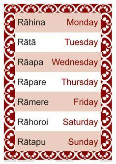 Te Reo Days of the Week #tereomaori