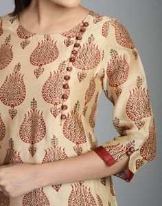Silk Cotton Printed Awadh Neck Long Kurta: Salwar Neck Designs, Churidar Designs, Kurta Neck Design, Neck Designs For Suits, Sleeves Designs For Dresses, Neckline Designs, Kurta Designs Women, Dress Neck Designs, Sleeve Designs